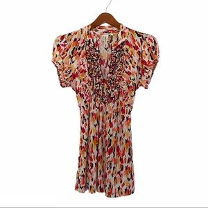 Heart Soul V Neck Ruffle top red print large